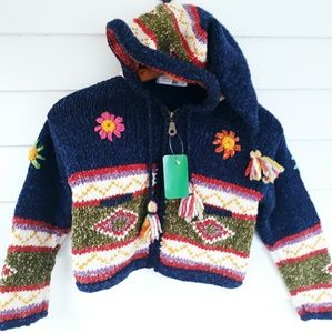 Girl's Wool Blend Knit Bohemian Ethnic Sweater S